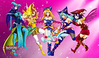 """Yugioh! Magician Girls Custom Playmat/Giant Mouse Pad - Durable Rubber 14"""" x 24"""""""