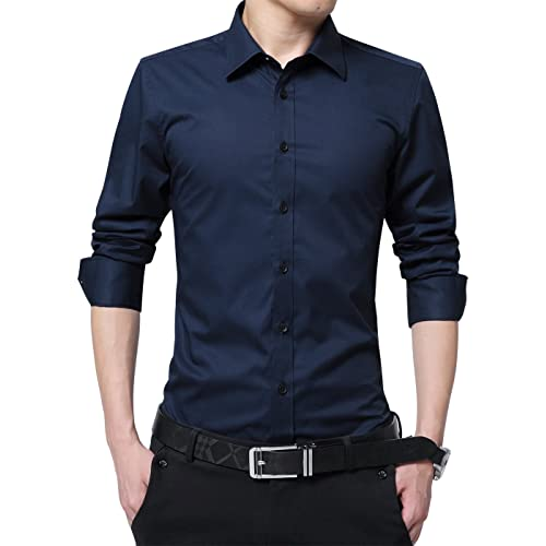 e28b40a0 XTAPAN Men's Long Short Sleeve Casual Slim Fit Cotton Fashion Button Down Dress  Shirt