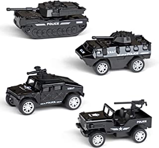 Tianmei 4 Cars in 1 Set Children's Military Vehicle Styling 1:60 Pull Back Alloy Diecast Car Models Collection Set Kids Toys for Boys and Girls (4 Pieces - Police)