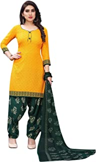 TreegoArt Fashion Women's Printed Ethnic Wear Crepe Unstitched Salwar Suit Dress Material -(Free Size) Yellow