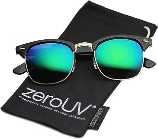 zeroUV - Half Frame Semi-Rimless Horn Rimmed Sunglasses