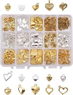 Assorted 150pcs Heart Shaped Alloy Pendants Love Wine Glass Charms Bracelet Necklace Beads Wine Glass Charms for Jewelry Making Birthday Christmas Valentine's Gift with Storage Box