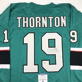 e2984fc9d Autographed Signed Joe Thornton San Jose Green Hockey Jersey Beckett BAS COA