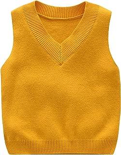 GEMVIE Toddler Kids Warm Knit Vest Sweater V Neck Casual Plain Pullover Sleeveless Waistcoat Knit Tank Top