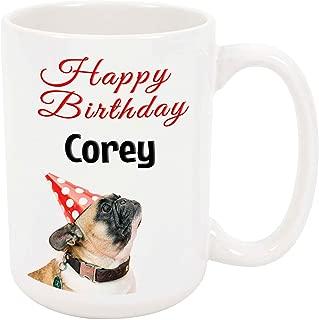 Happy Birthday Corey - 15 Ounce Coffee or Tea Mug, White Ceramic, Unique Birthday Present Gift Idea