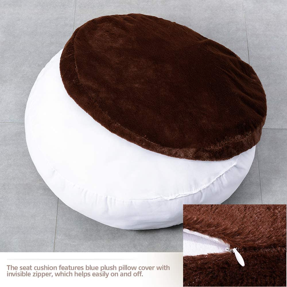 Beige HIGOGOGO Round Faux Fur Floor Cushion 24x24 Fluffy Floor Pillow Pouf with Removable Cover Thickness: 8 Soft Shaggy Meditation Cushion Thick Seating for Living Room Bedroom Sofa