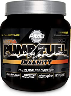 PMD Sports Ultra Pump Fuel Insanity - Pre Workout Drink for Energy, Strength, Endurance, Muscle Pumps and Recovery - Complex Carbohydrates and Amino Energy - Tropical Orange Mango - 30 Servings