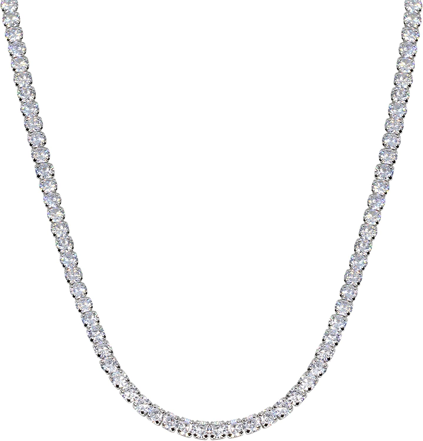 Savlano 18K Gold Plated Cubic Zirconia Round 4MM Classic Tennis 18 Inches Chain Necklace For Women, Girls & Men Comes With Savlano Gift Box