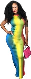 Womens Sexy Halter Backless Tie-dye Print Wrap Dress Nightclub Maxi Dress Bodycon One Step Dress
