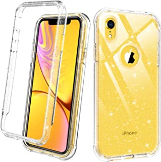DUEDUE iPhone XR Case Clear, 2 in 1 Glitter Shockproof Drop Protection Heavy Duty Hybrid Sparkly Hard PC Bumper Transparent TPU Full Body Protective Case for iPhone XR 6.1