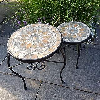 Mesa de jardín de Mosaico de Piedra Natural Conjunto de Muebles de balcón, Resistente a Las heladas Mesa Auxiliar para Plantas Estante de Flores Ø 30cm y 24cm