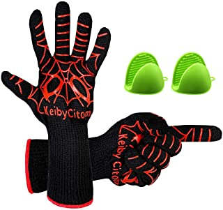 -Long 14 Use As Oven Mitt Black/&Red, One Size 1Pair Pot Holders Baking HOMEERR BBQ Five Fingers Heatproof Oven Gloves Set Fireplace /& Cooking Gloves