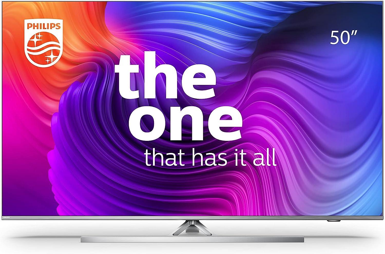 Philips 50PUS8506 50 Pulgadas 4K Smart TV UHD LED Android TV con Ambilight, Imagen HDR Vibrante, Dolby Vision cinematográfico y Sonido Atmos, Compatible con Google Assistance y Alexa, Plateado Claro