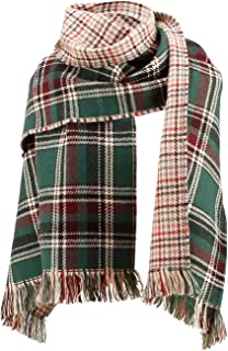 Plaid Scarf Oversized Blanket Knitted Tartan Wrap Shawl