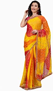 chhabra 555 Georgette with Blouse Piece Saree (IKUS3517_Yellow_OneSize)
