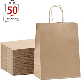 GSSUSA Brown Gift Bags 8x4.75x10.5 50Pcs Kraft Paper Bag,Party Bags,Retail Bags,Shopping Bags,Brown Paper Bags with Handles 100% Recyclable Paper