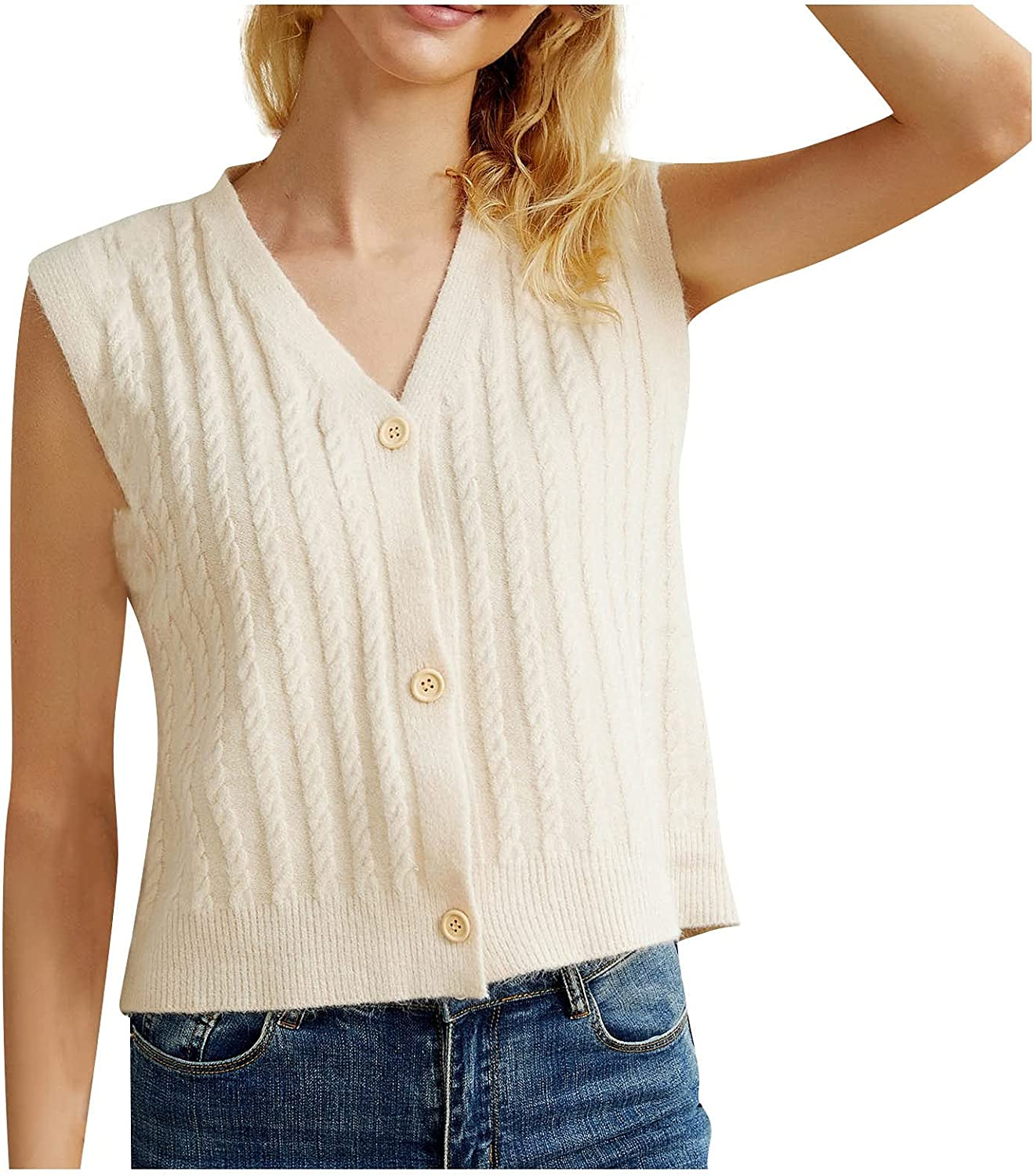 VonVonCo Womens Off The Shoulder Tops Sweater V-Neck Cardigan Sleeveless Vest Knitted Vest Blouses Outer Sweater Tops