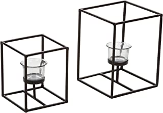 Hosley Set of 2 Modern Art Style Candle Holders with Clear Glass Tealight Holder Includes Tealight Ideal for Home and Wedding as Well as Spa Reiki and Aromatherapy O3
