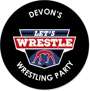 Big Dot of Happiness Personalized Own the Mat - Wrestling - Custom Birthday Party or Wrestler Party Favor Circle Sticker Labels - Custom Text - 24 Count