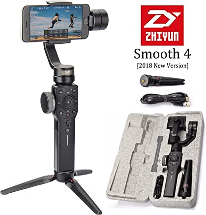 $99 » Zhiyun Smooth 4 3-Axis Handheld Smartphone Gimbal Stabilizer, Upgraded Phone Gyro Stabilizer Vlog Tripod w/Focus Pull&Zoom for iPhone Xs Max X/8 Plus/7/SE Samsung Galaxy S9+/S8/S7 etc Mobiles (Black)
