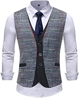 GRMO Men Sleeveless Plaid Print Slim Fit Stylish Casual V-Neck Suit Vests Waistcoat