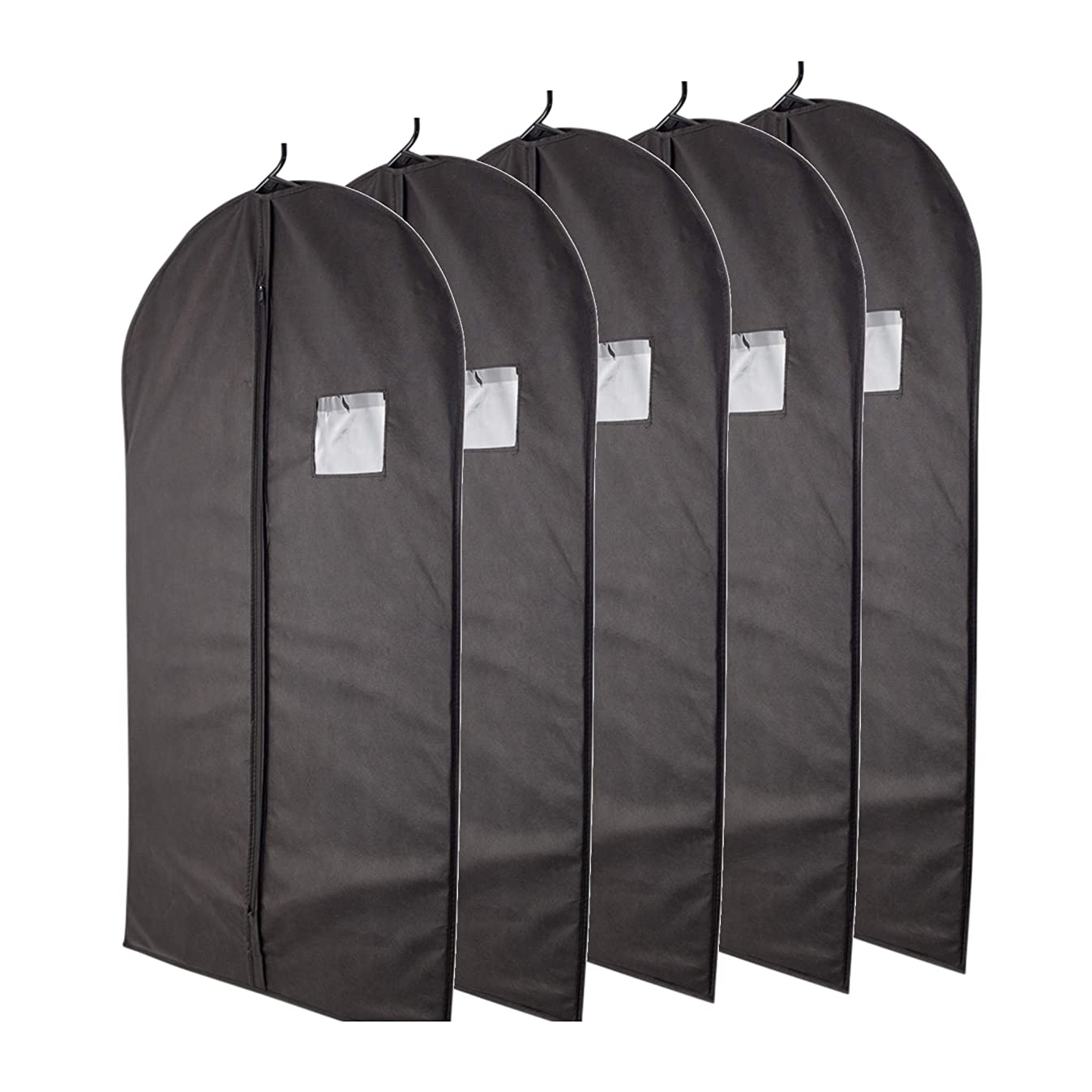 Plixio Garment Bags Suit Bag for Travel and Clothing Storage of Dresses, Dress Shirts, Coats— Includes Zipper and Transparent Window (Black- 5 Pack: 40