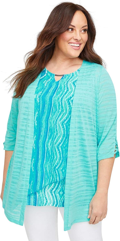 Catherines Women's Plus Size Shadow Stripe Cardigan