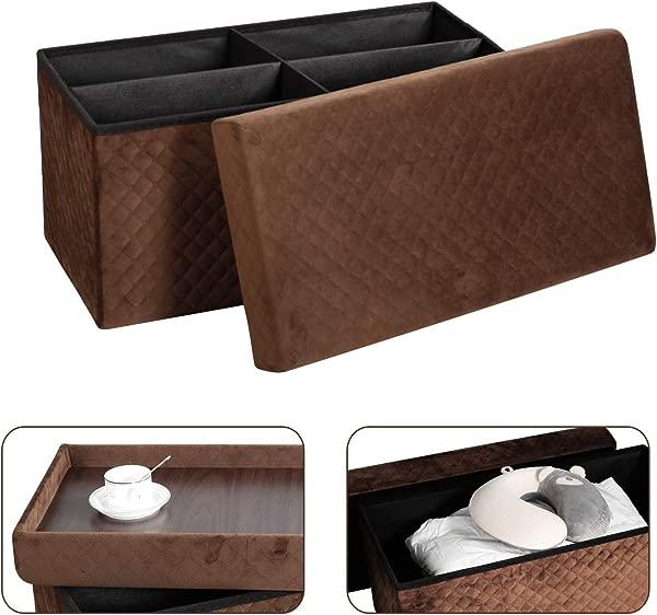 收纳搁脚凳法兰绒可折叠茶几脚凳客厅卧室书房棕色