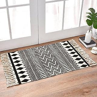 INKARO Tapis en coton tissé avec pompon - Pour cuisine, salon, chambre, buanderie, entrée - 60 x 90 cm - Diamant noir