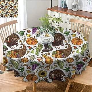 Pcglvie Thanksgiving,Thanksgiving Round Tablecloth,Round Outdoor Tablecloth,Polyester Round Tablecloth,Indoor Outdoor Round Tablecloth,Thanksgiving,Pilgrims Hat Turkey-(66