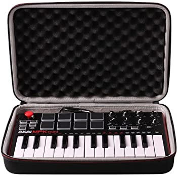 LTGEM Travel Hard Carrying Case for Akai Professional MPK Mini MKII & MK3 & MPK Mini Play | 25-Key Ultra-Portable USB MIDI Drum Pad & Keyboard Controller