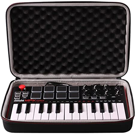 LTGEM Travel Hard Carrying Case for Akai Professional MPK Mini MKII & MK3 & MPK Mini Play | 25-Key Ultra-Portable USB MIDI Drum Pad & Keyboard Controller