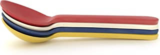 Ekobo Bambino Set of 4 Ice Cream Spoons/Coffee Spoons No. 2 Bamboo, Bamboo, Lemon, Tomato, Royal Blue, White, 14 x 3,5 x 2 cm