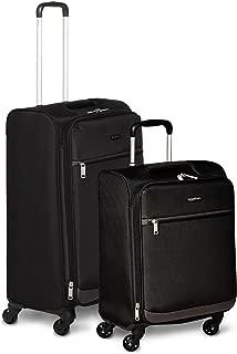 AmazonBasics Set of 2 (53 cm + 74 cm) Black Softsided Trolleys