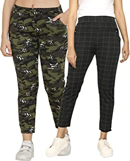 DTR FASHION Women's camoflauge and Checks Printed Track Pant For Women/Girls_ Jogger Pant_jegging For Women_Combo Pack Of ...