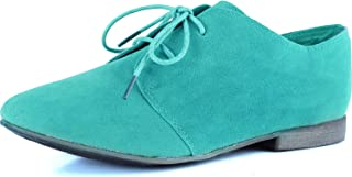 Breckelle's Sandy-31s Lace Up Suede Oxford Flats Mint