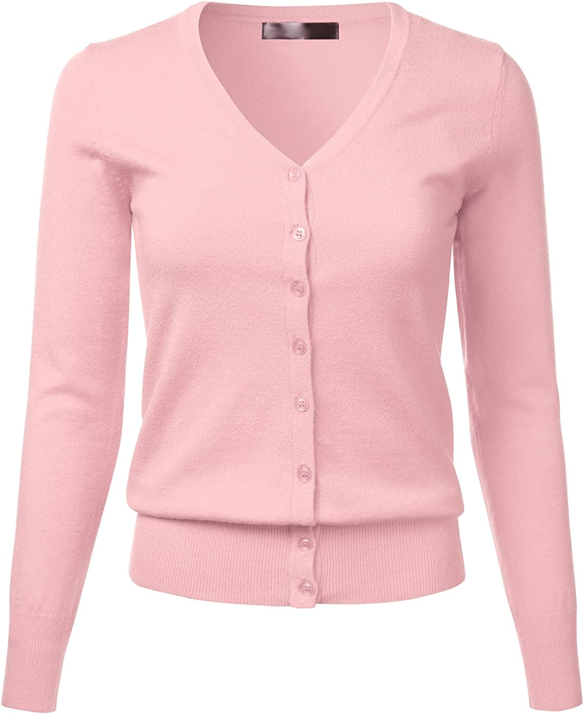 FLORIA Women's V-Neck Long Sleeve Button Down Soft Knit Cardigan Sweater (S-XL)
