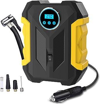 Digital Air Compressor for Car Auto Pump Portable Tire Inflator with LED Light DC 12V: image