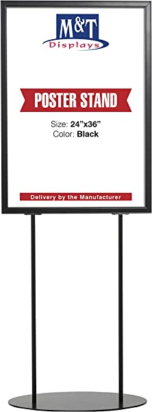 Heavy Duty Oval Display Advertising Info Double Sided Poster Sign Holder Board 24X36 Poster Size Aluminum Double Sided Black