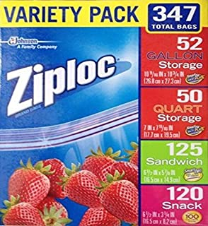 Ziploc 347 Variety Total Bags, 347 Pack, Piece Assortment, clear