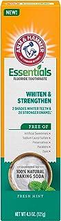 ARM & HAMMER Essentials Whiten & Strengthen Fluoride Toothpaste-4 Pack of 4.3oz Tubes, Fresh Mint- 100% Natural Baking Sod...