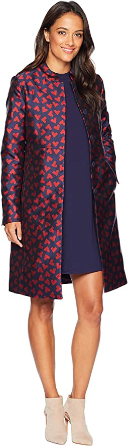 Abstract Hearts Nehru Collar Long Coat