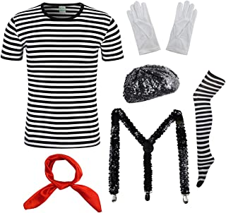 Womens Mime Artist Costume Set Black & White Silent Actor Dress Halloween Outfit