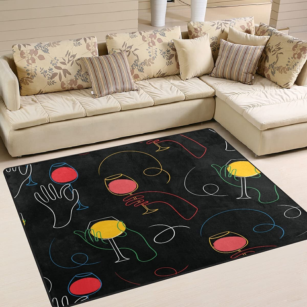 Overseas parallel import regular item Wine Party Lines Area Rugs Throw Floor Ca Soft Mat Non-Slip Large special price !!