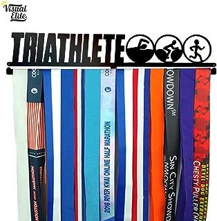 Visual Elite   Triathlete   Medal Display Hanger   Hand-Forged Black Metal Hanger Design for Triathlon, Running, Race, Etc.   The Medal Hangers Collection