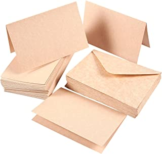 Set of 48 A4 Invitation Envelopes and 4 x 6 Blank Greeting Card Paper - Aged Style Parchment Paper Envelopes and Greeting Cards - Vintage Style Half-Fold Greeting Cards with Envelopes
