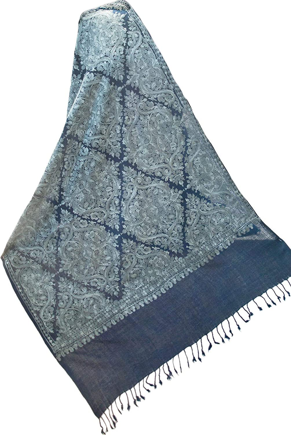 Navy bluee Wool Shawl Pashmina Embroidered in Silver bluee. Aqua Wrap 76 x27