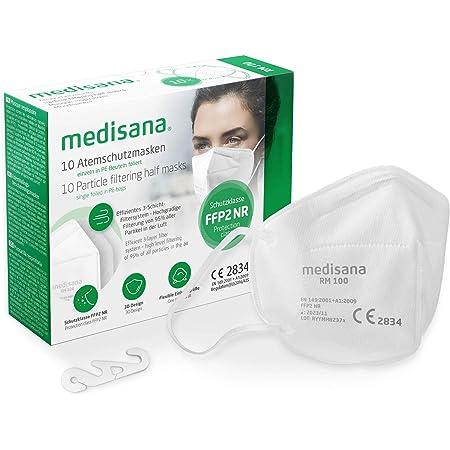 medisana FFP2 mascarilla de protección, RM 100, máscara respiratoria, contra el polvo, 10 piezas empaquetadas individualmente en bolsa de PE con clip - certificado CE2834 - UE 2016/425