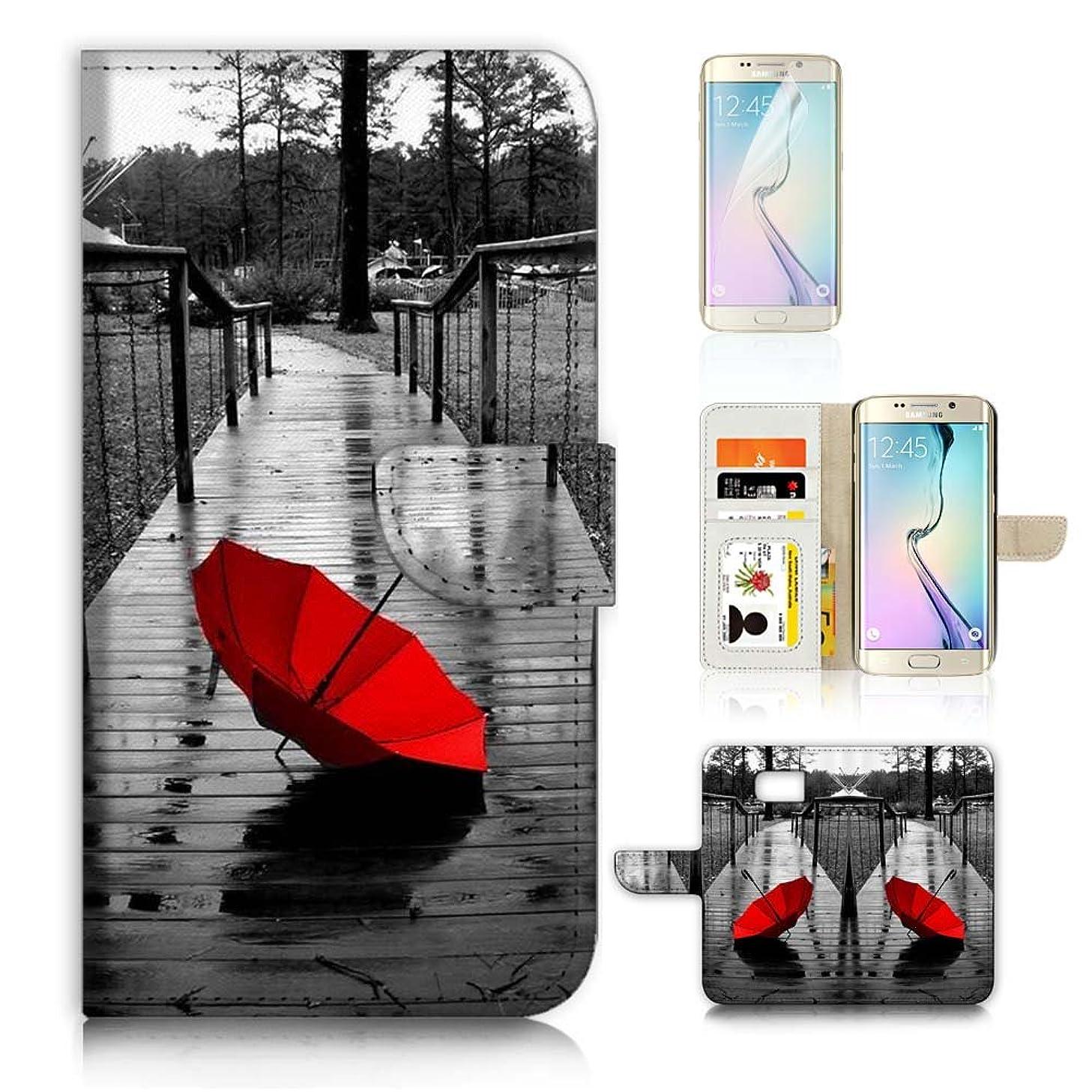 ( For Samsung S7 Edge , Galaxy S7 Edge ) Flip Wallet Case Cover & Screen Protector Bundle - A20112 Red Umbrella