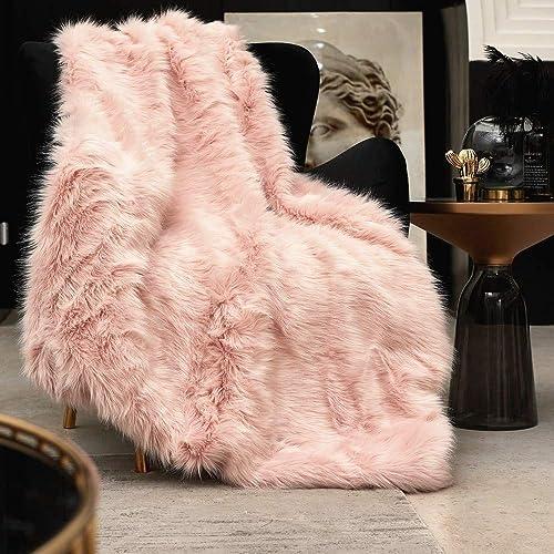 Pink Faux Fur Throw Blanket, Luxury Modern Blush Home Throw Blanket, Super Warm, Fuzzy, Elegant, Fluffy Thick Heavy D...